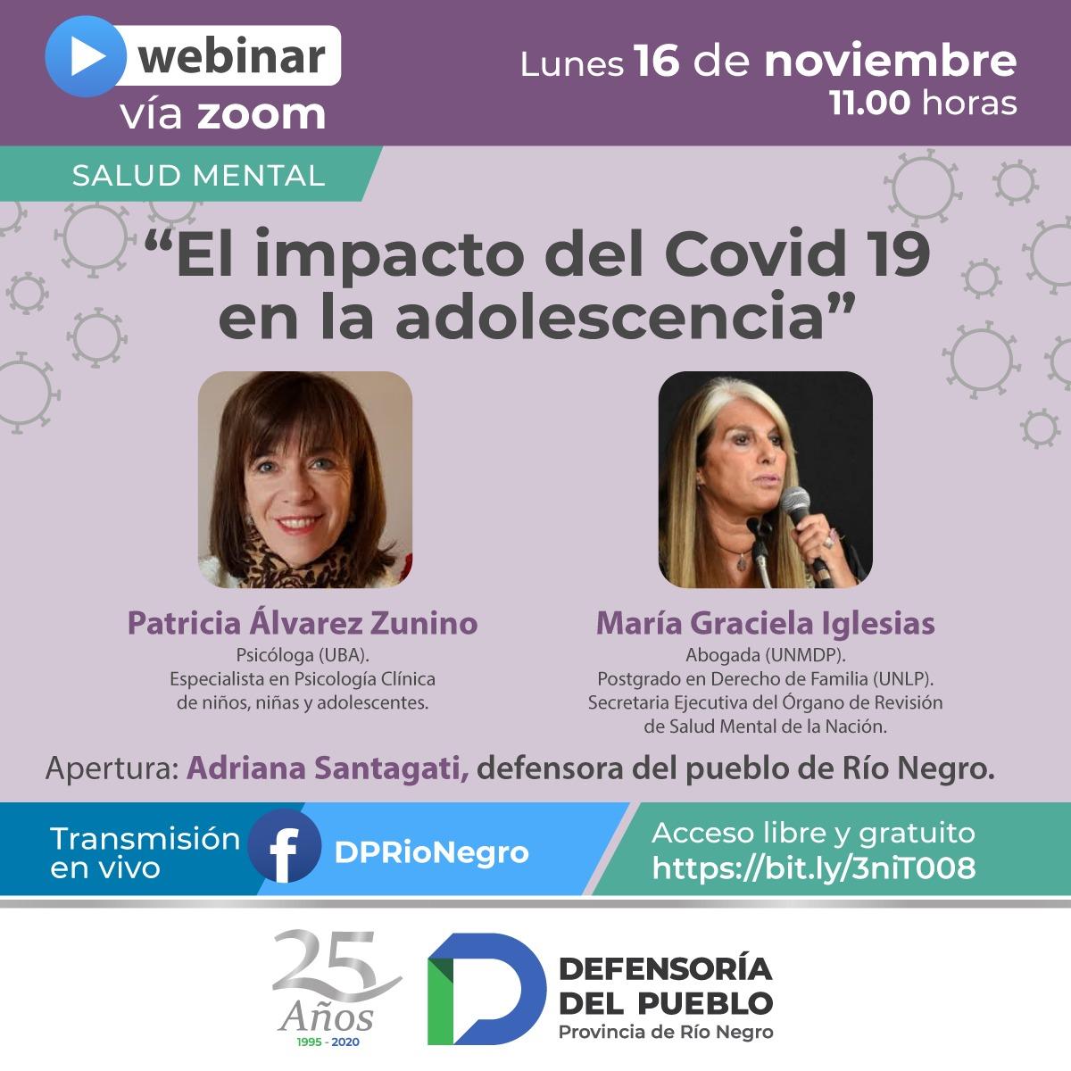 WEBINAR: «El impacto del Covid 19 en la adolescencia». Lunes 16 de noviembre a las 11:00 por Zoom y Facebook live.